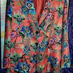 H&M pink flower print  boyfriend blazer size 12